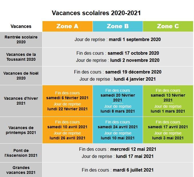 Calendrier Scolaire 2021 Lille Calendrier des vacances scolaires